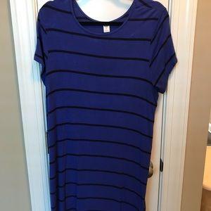 Old navy dress XL tall blue black stripe